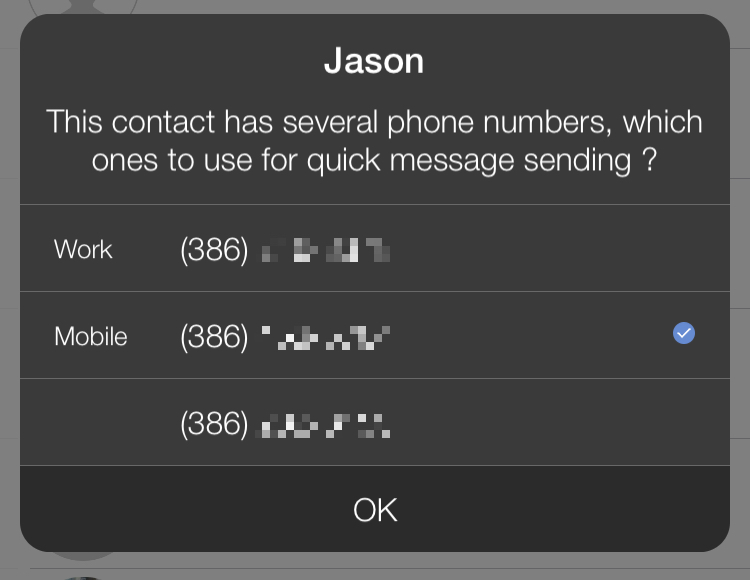 Connect Choose Contact Number Options