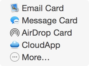 Contact sharing options on Mac