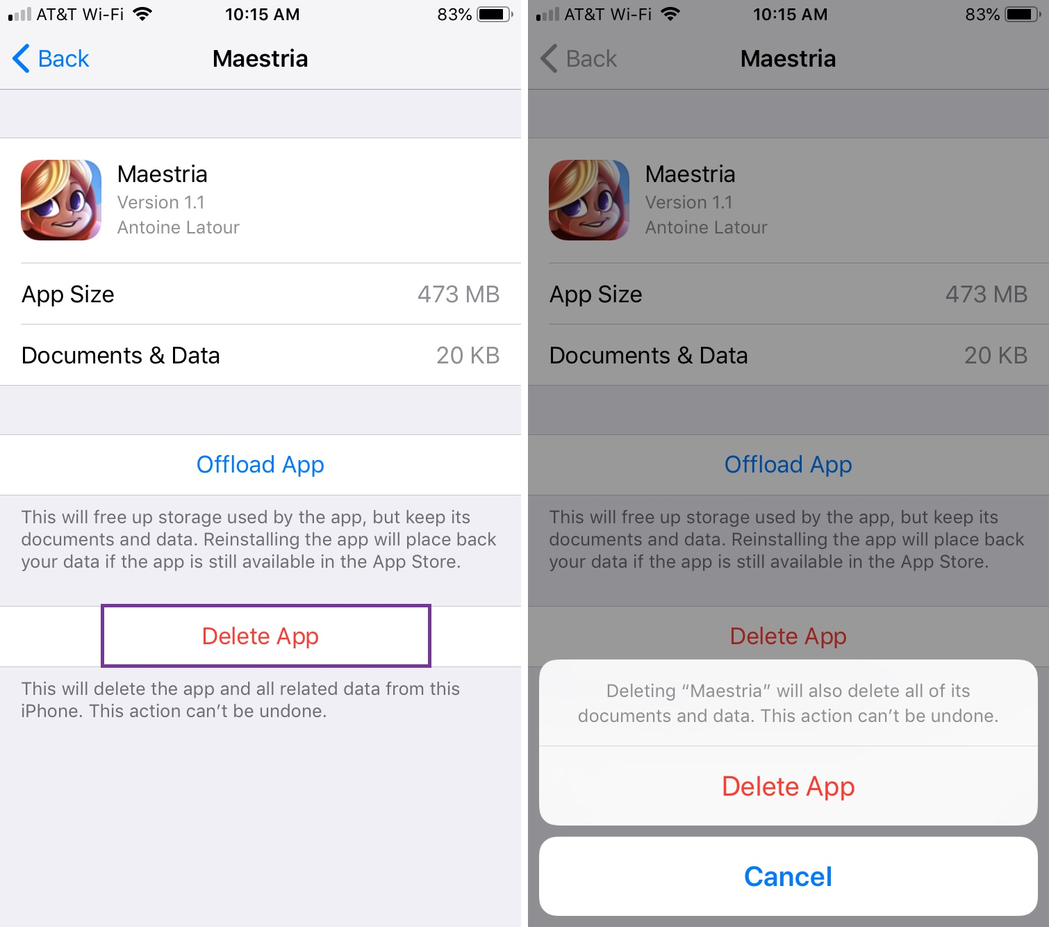 Delete iPhone Apps from Storage and Confirm