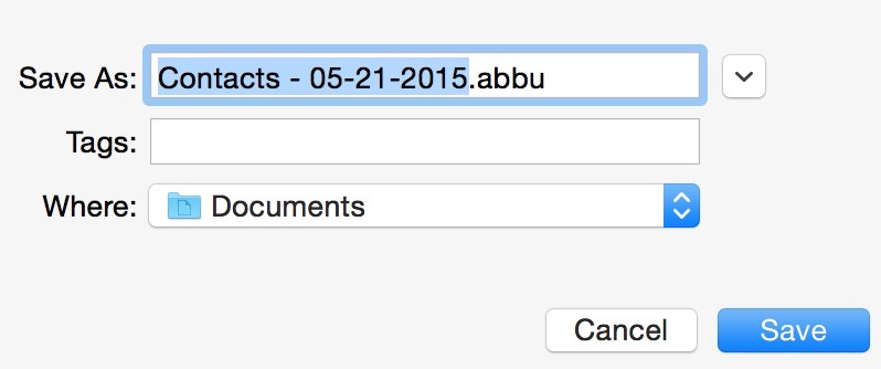 Export contacts abbu on Mac