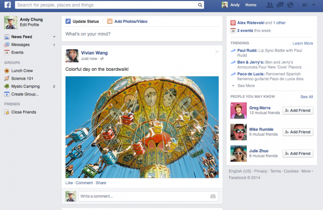 Facebook (new News Feed redesign 001)