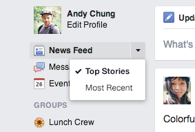 Facebook (new News Feed redesign, Most Recent)