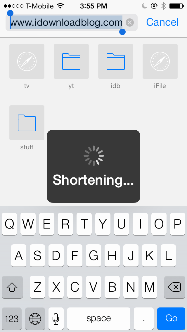 Goo.gl shortener for Action Menu 2