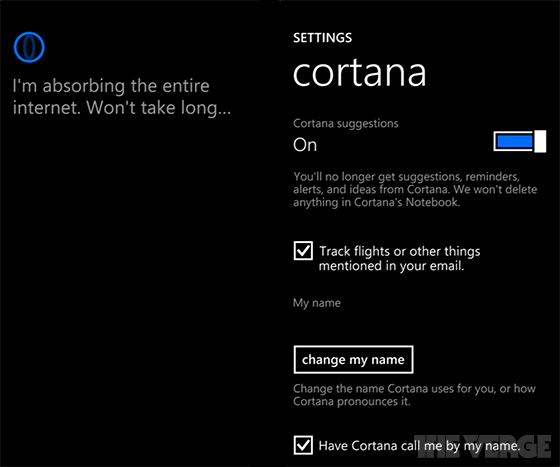 Microsoft Cortana (Settings)