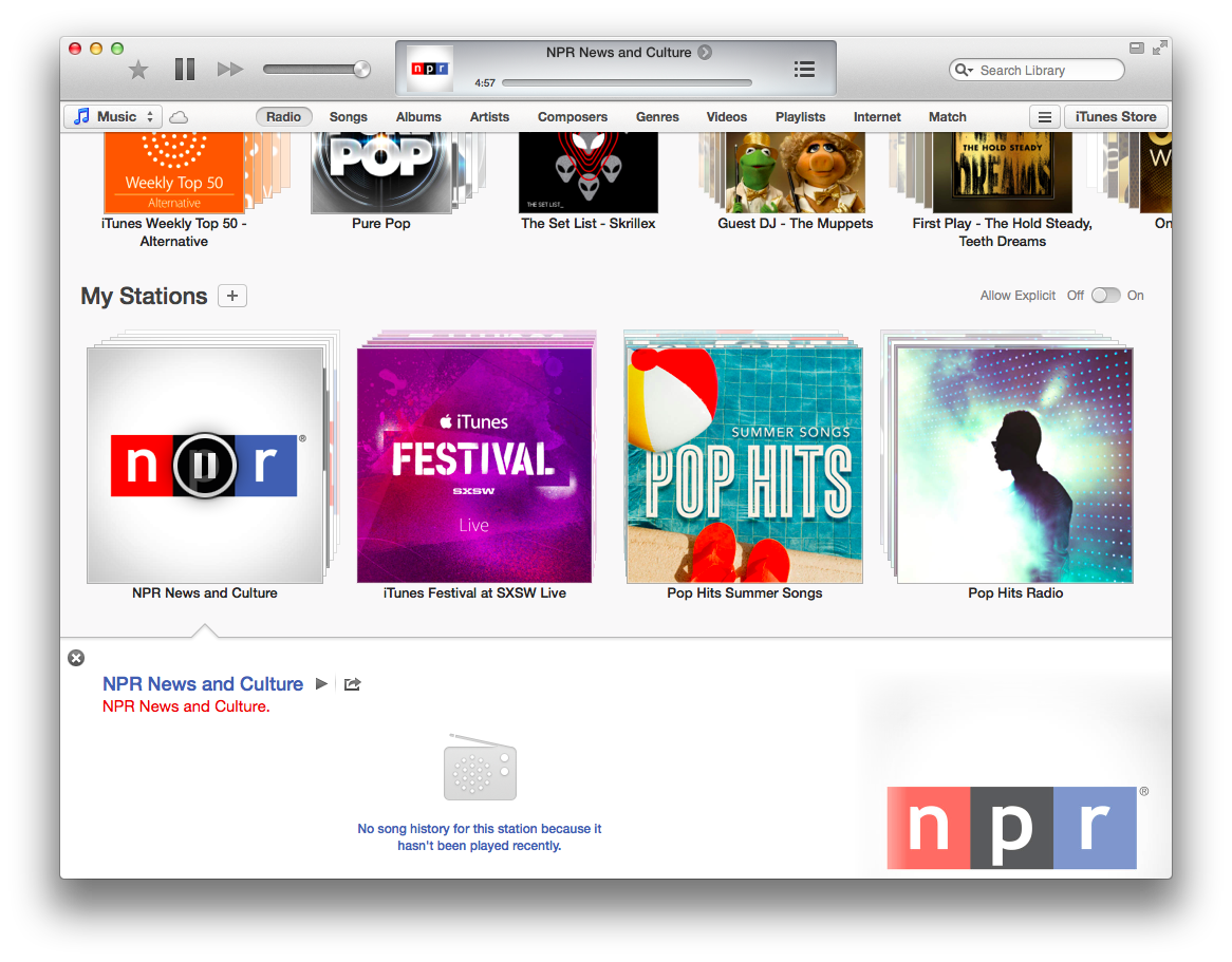 NPR in iTunes Radio