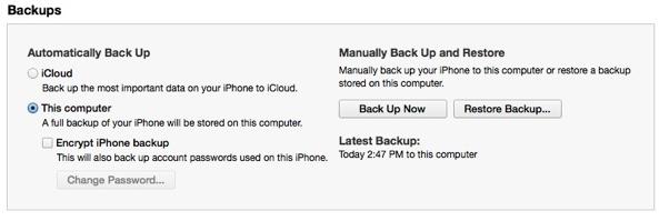 SMS Backup iTunes Backup