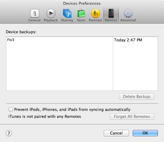 SMS Backup iTunes Prferences