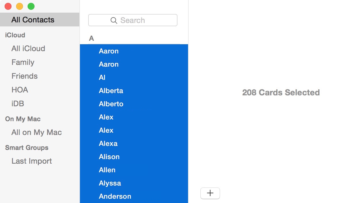 Select all Mac contacts