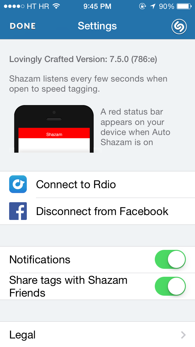 Shazam 7.5 for iOS (Settings, iPhone screenshot 001)