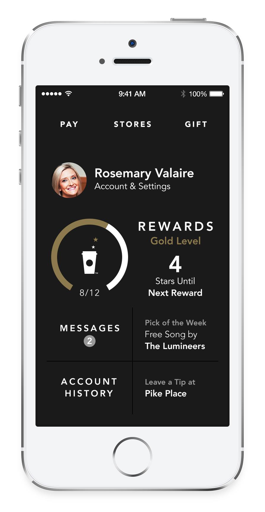 Starbucks (iPhone screenshot, Dashboard)