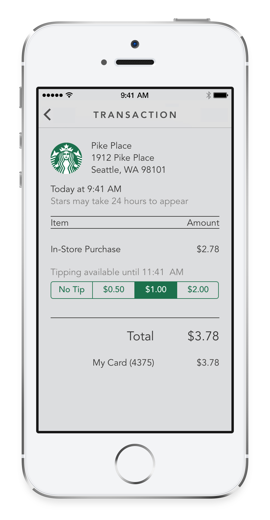 Starbucks (iPhone screenshot, Tipping)