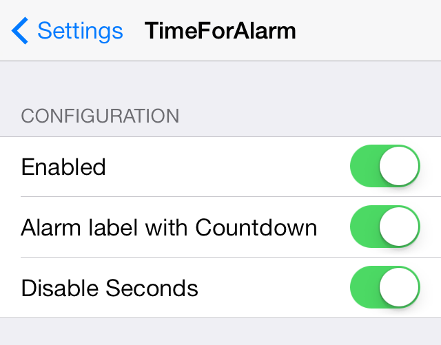 TimeForAlarm Settings