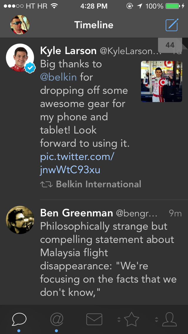 Tweetbot 3.3 for iOS (Timeline, small thumbnail)