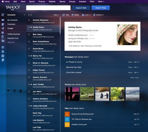 Yahoo Mail (Contacts, web interface 001)