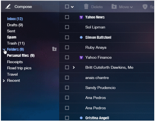 Yahoo Mail (Folders, web interface 001)