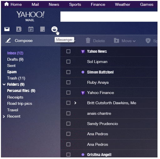 Yahoo Mail (shortcut icons, web interface 001)