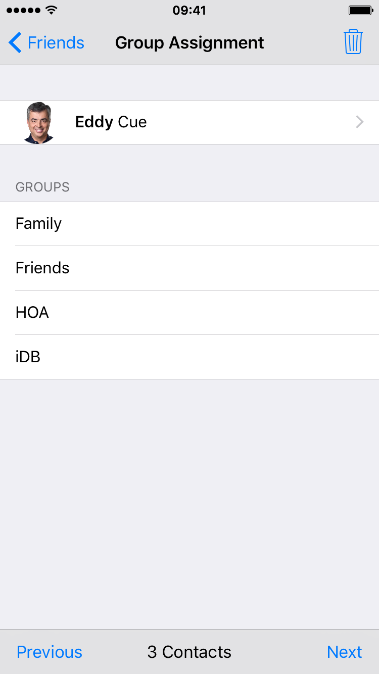 Remove contact from group