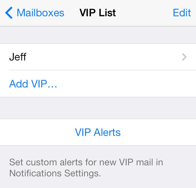 iOS 7 Mail VIP