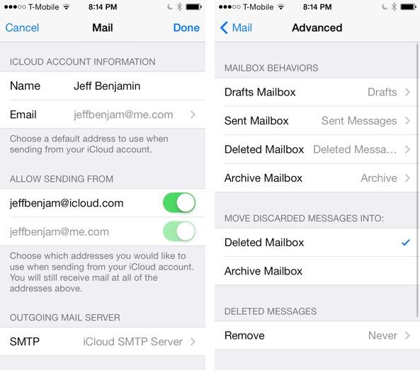 iOS 7 Mail app iCloud Config