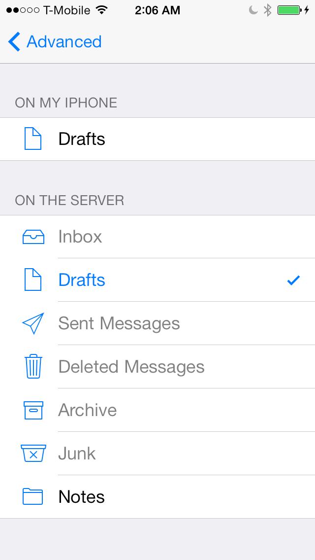 iOS 7 Mail icloud draft map