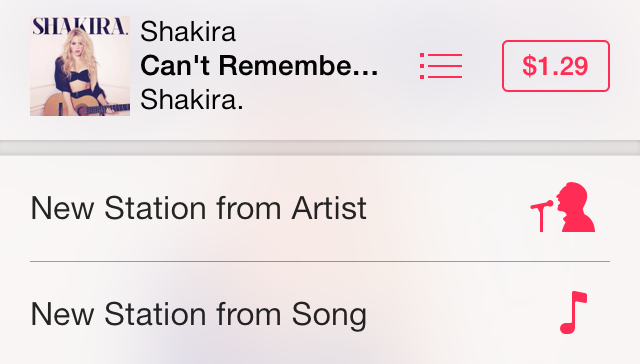 iOS 7 Music Adding a new station from Artist or Song