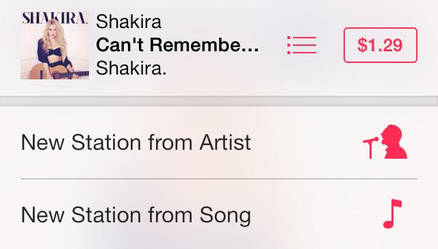 iOS 7 Music Agregando una nueva estación del Artista o Canción