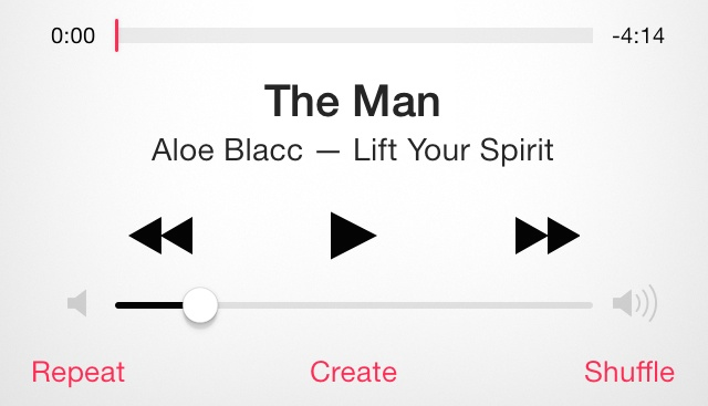 iOS 7 Music App Transport Controls
