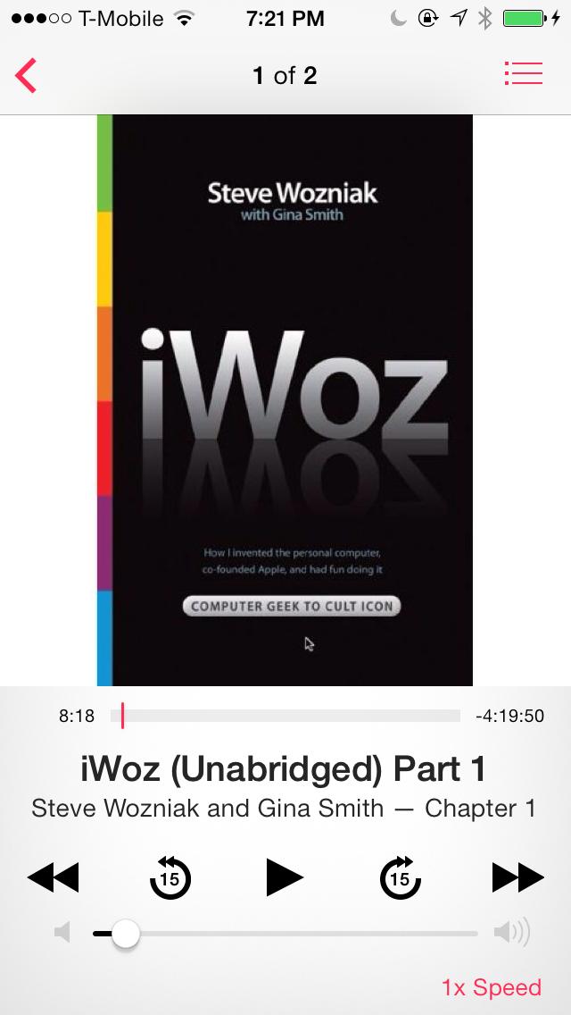 iOS 7 Music Audiobook interface