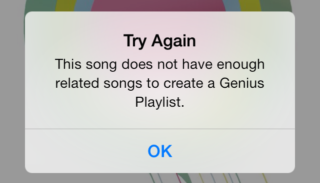 iOS 7 Music Genius Playlist Error