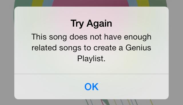 Error de lista de reproducción de iOS 7 Music Genius