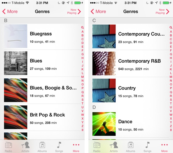 iOS 7 Music Genres