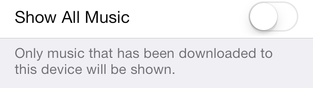 iOS 7 Music Settings Show All Music