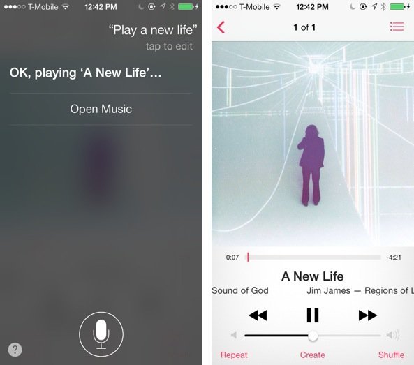 iOS 7 Music Siri Play Song
