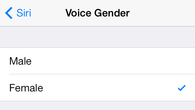 iOS 7 Siri Voice Gender