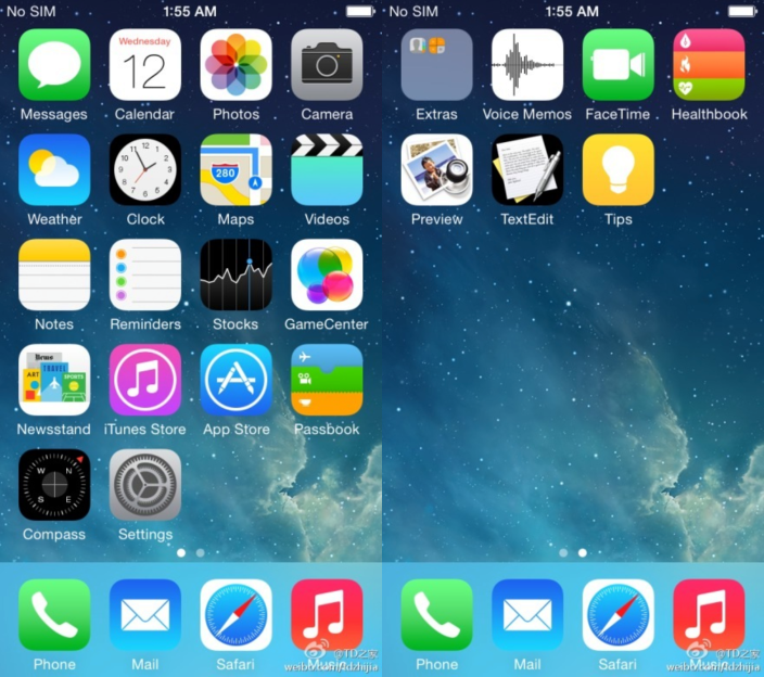 iOS 8 screenshot (Healthbook, Preview, TextEdit icons)