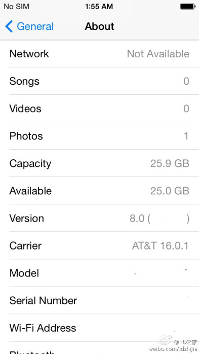 iOS 8 screenshot (Settings screenshot)