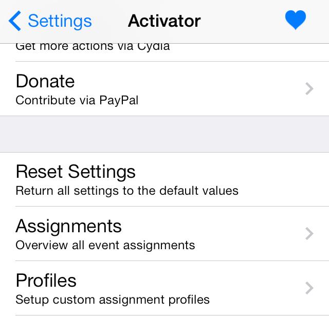Activator Profiles panel