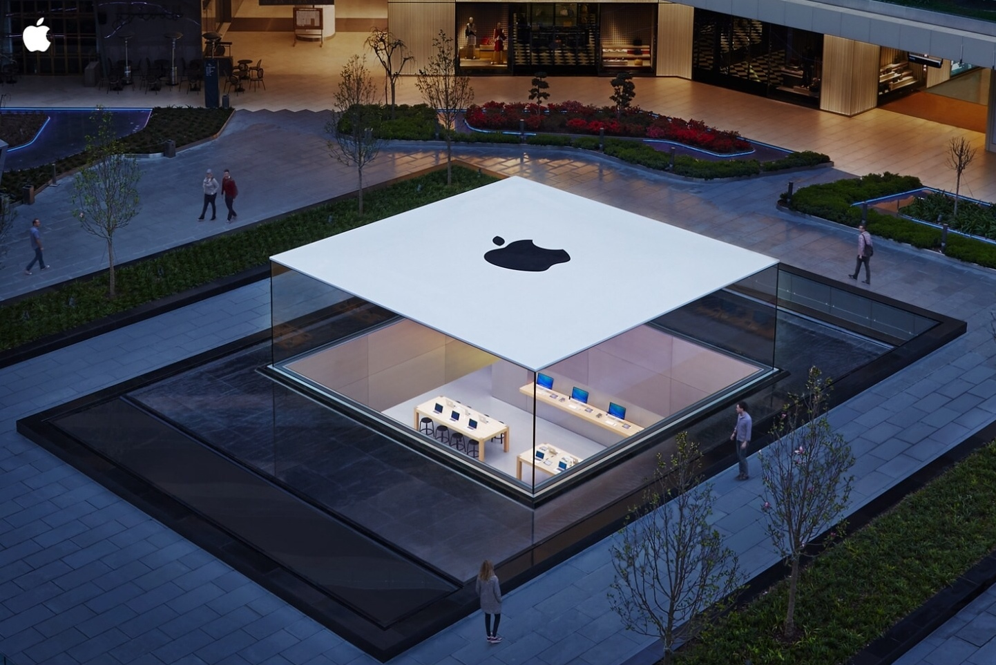 A birds-eye view of the rooftop of Apple's flagship store in Istanbul, Turkey