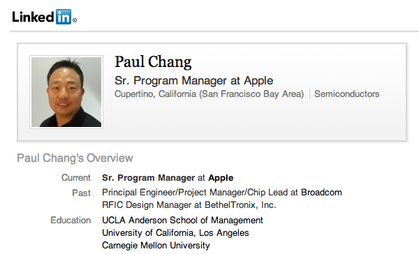 Apple hire (Paul Chang, Broadcom)
