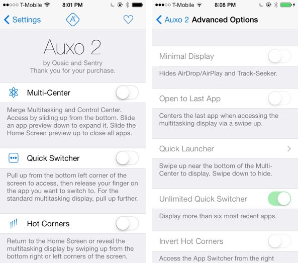 Auxo 2 Disabled Options