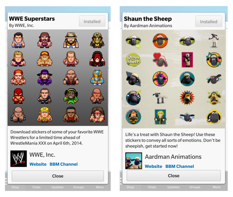 BBM Stickers (WWE Superstars, Shaun The Sheep)