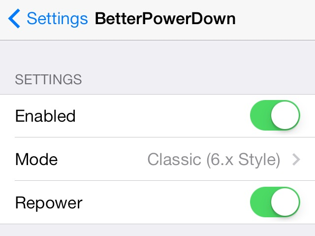 BetterPowerDown Settings