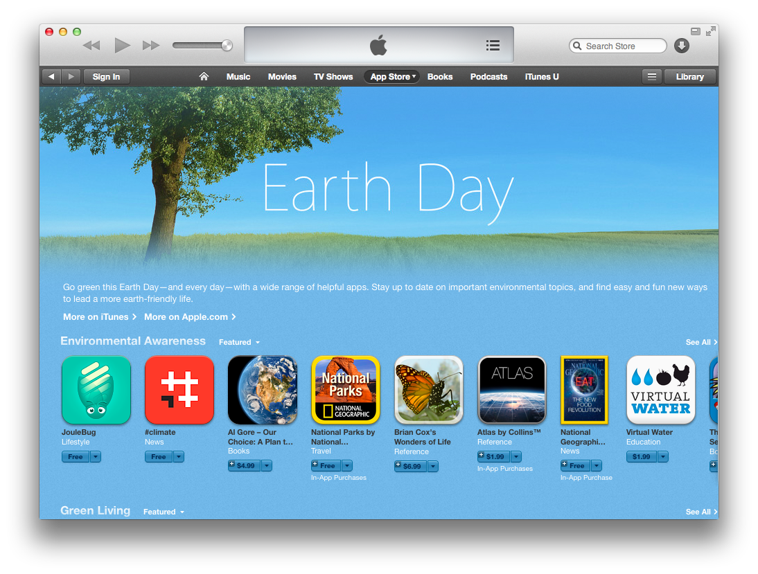 Earth Day 2014 apps (iTunes teaser)