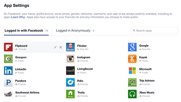 Facebook Anonymous Login (app control panel 001)