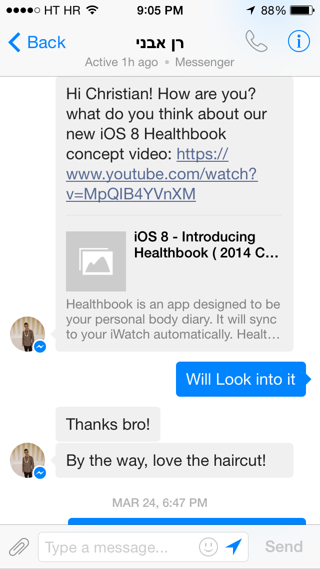 Facebook Messenger 4.1 for iOS (iPhone screenshot 001)