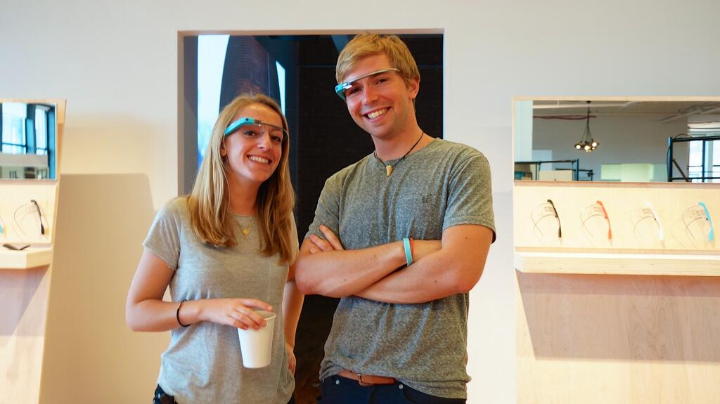 Google Glass happy couple