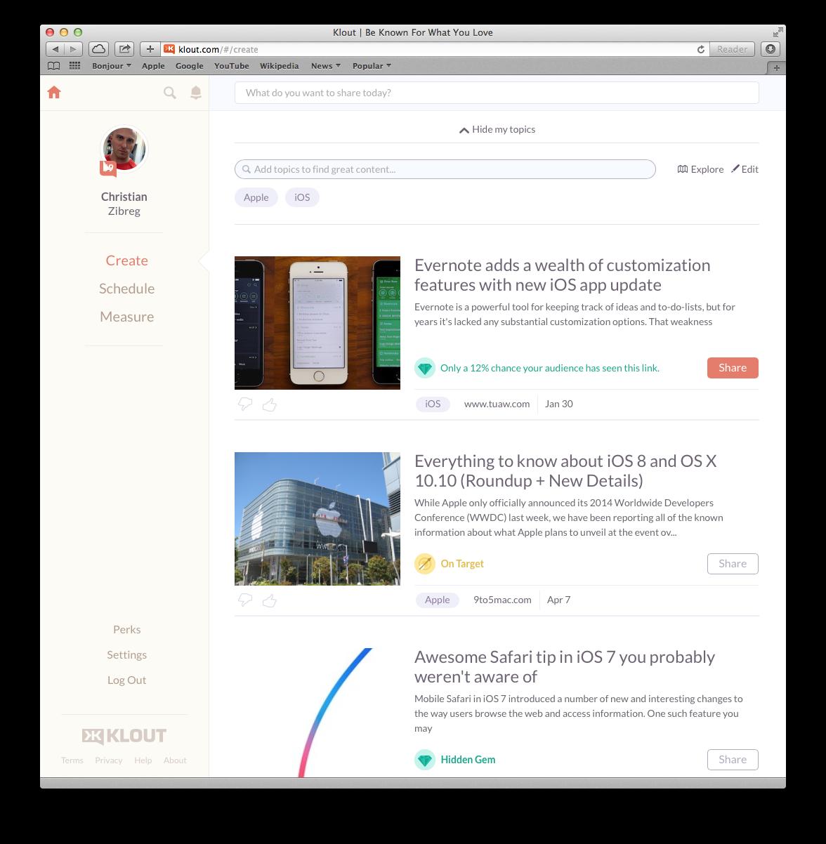 Klout (web screenshot 001)