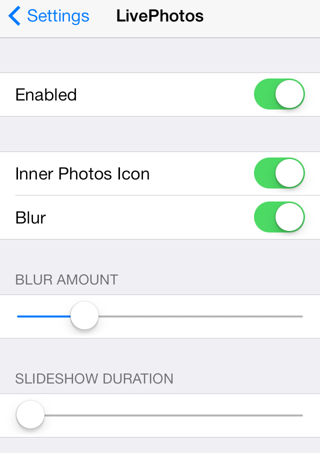 LivePhotos Settings
