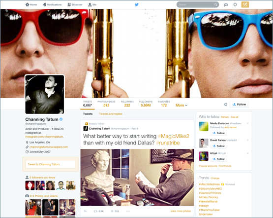 New Twitter profile (Channing Tatum, web screenshot 001)