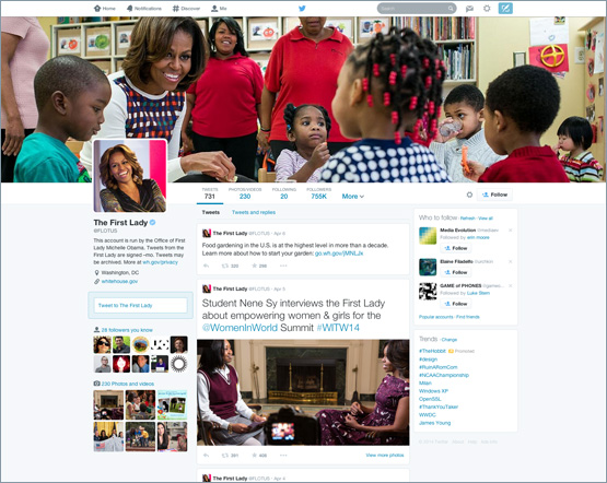New Twitter profile (The First Lady, web screenshot 001)